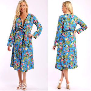 BLUE FLORAL DUSTER